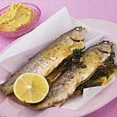 Trout with a herb filling and lemon butter