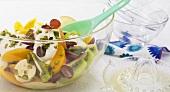 Fruit salad with yogurt and pistachios