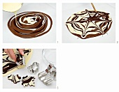 Marbled chocolate being prepared and shapes being cut out of it