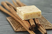 Natural soap on cinnamon sticks