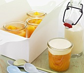 Yellow fruit jelly with cream