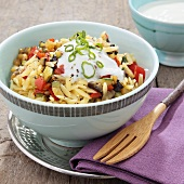 Pasta salad with vegetables and yogurt