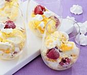 Mango meringue dessert with raspberries