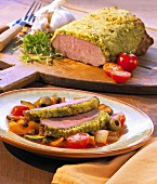 Saddle of veal with a herb crust and ratatouille