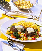 Lamb medallions with vegetables and Spätzle (soft egg noodles from Germany)
