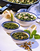 Various pasta sauces with herbs
