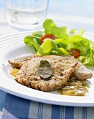 Veal escalope with sage and a salad garnish (Greece)