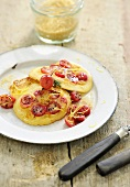 Pancakes with gooseberries and lemon zest