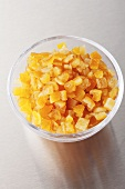 Candied orange peel in a glass bowl
