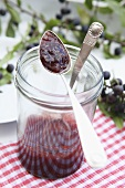 Blackthorn jelly in a jam jar with a spoon