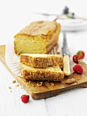 Courgette and lemon cake, sliced