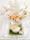 Prawn kebabs with a dip for Christmas dinner