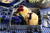 Muffins with blueberry sauce