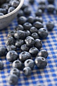 Blueberries on a checked table cloth