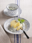 Hamburg parsley flan on a chive sauce