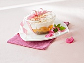 Fruit dessert with ricotta cream as a gift
