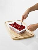 Cherry sorbet being prepared