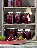 Balsamic cherries in preserving jars