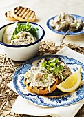 Toasted bread with a smoked mackerel spread