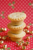A stack of three Christmas mince pies