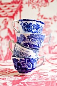 A stack of tea cups (Blue China)