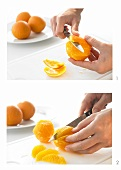 An orange being filleted