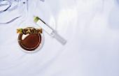 Pumpkin seed pasta with porcini mushroom essence (molecular gastronomy)