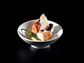 Braised pimentos with prawns and liquid polenta