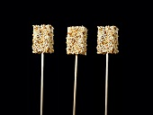 Chicken soup lollies with sesame seeds