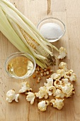Popcorn and ingredients (corn kernels, salt, oil)