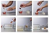 Aperol-Kaviar herstellen (Molekularküche)