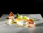 Wels catfish belly, leek emulsion, smoked oil, sot-l'y-laisse (molecular gastronomy)