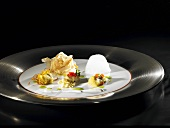 Oysters, bacon, white coffee emulsion (molecular gastronomy)