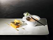 Breton mackerel, seawater foam, hot sweet potato salad, grape seed oil semolina (molecular gastronomy)