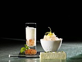 Citrus granita, milk foam, bay leaf as 'espresso' (molecular gastronomy)