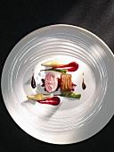 Duck breast, beetroot, pear, chard (molecular gastronomy)