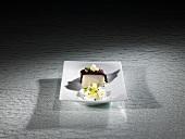 Morcilla, cauliflower, black cumin, turbot (molecular gastronomy)