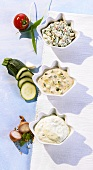Courgette dip, pepper dip and quark dip with bacon