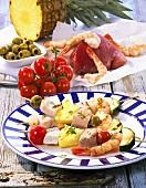 Mediterranean fish kebab