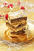 Slices of Christmas apple and poppyseed cake