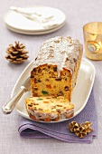 Fruit cake with icing sugar for Christmas