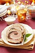 Pork belly roulade with a mushroom filling for Christmas dinner