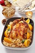Chicken with oranges and sauerkraut for Christmas dinner