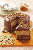 Hazelnut almond cake with chocolate cream
