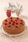 Christmas chocolate mousse tart with raspberries