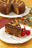 Christmas spiced cake with poppyseeds, dried fruit and nuts