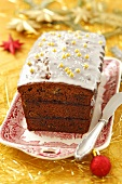 Spiced cake with plum jam for Christmas