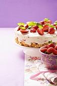 Strawberry cream cheese tart with basil