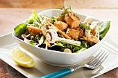 Salmon salad with mushrooms and carrots