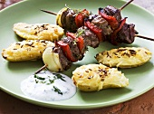 Lamb kebab with cheese potatoes